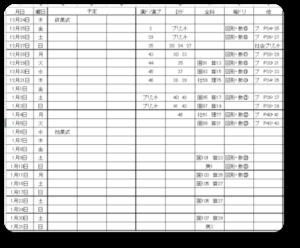 冬休み計画表(ぬーぴー)