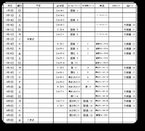 2021年春休み宿題計画表